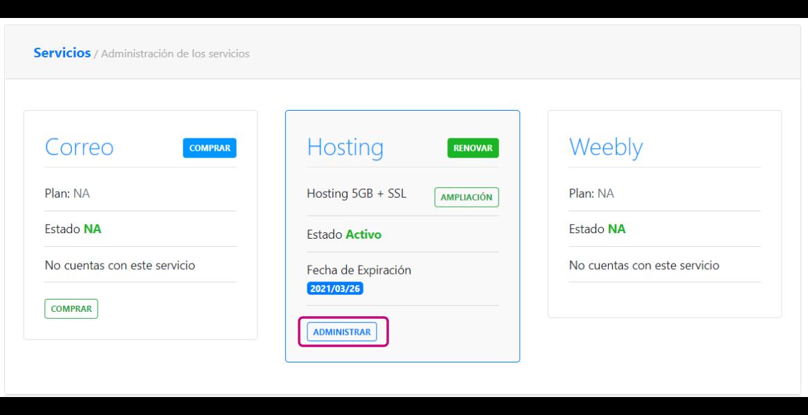 Administrar hosting