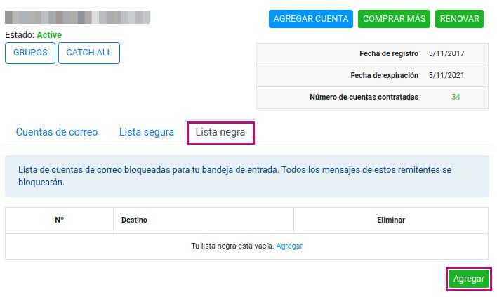 Agregar dominios o correos a tu lista negra