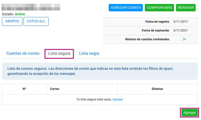 Agregar dominios o correos a tu lista segura