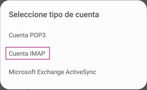 Selección de cuenta Imap