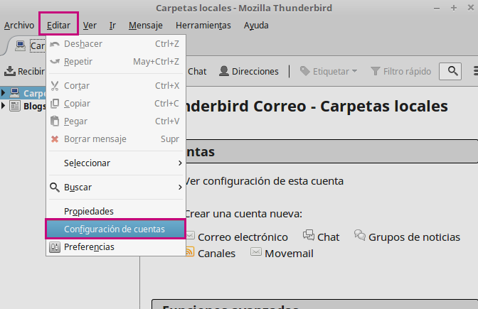 Usa tu correo corporativo en Thunderbird