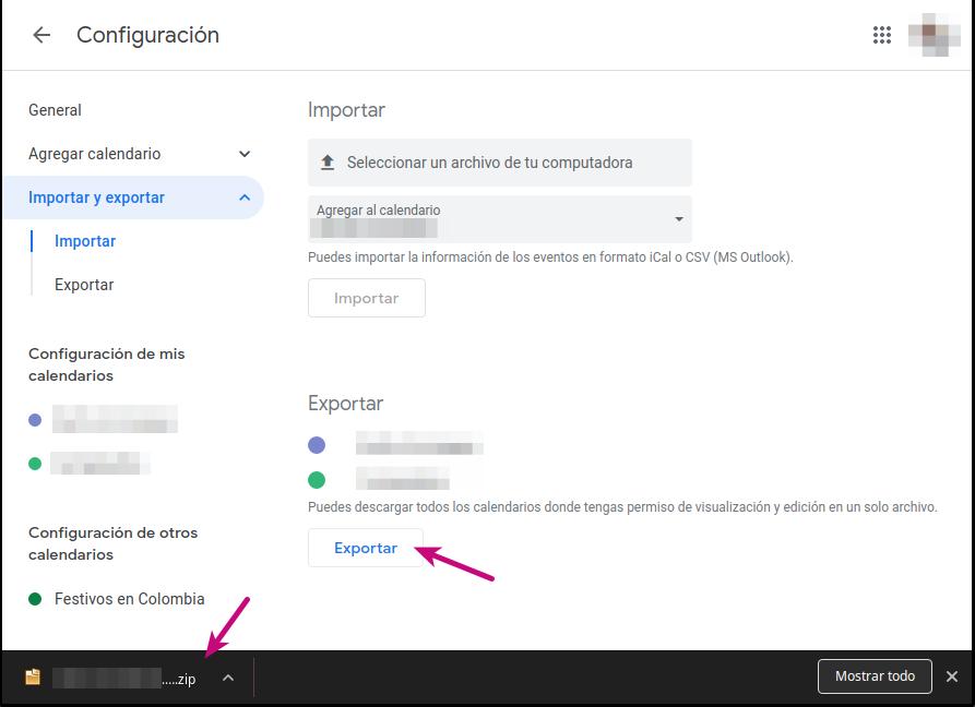 Exportar calendario correo corporativo