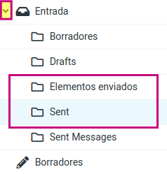 Identifica la carpeta en tu correo corporativo de los mensajes enviados