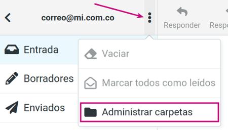 Administra las carpetas del correo corporativo