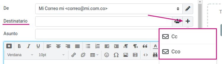 Agrega contactos en tu correo corporativo al redactar un mensaje