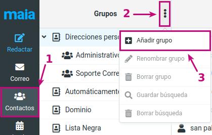 Configuración de Grupo de contactos en tu correo corporativo