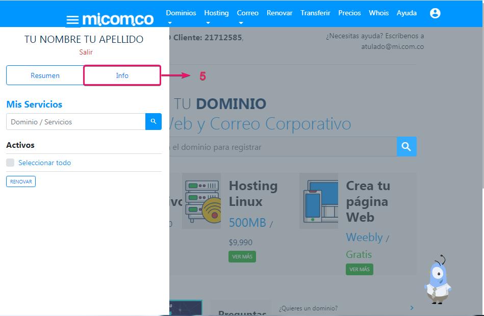 Información sobre la cuenta donde esta dominio, correo corporativo y hosting