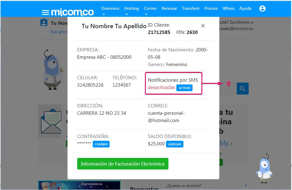 Desactivar notificación de dominio, correo corporativo y hosting