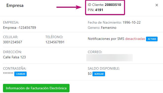 PIN y ID  de los servicios registrados como dominio, correo corporativo y hosting