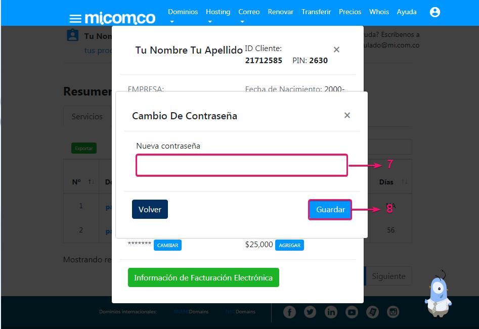 Nueva contraseña para administrar servicio de dominio, correo corporativo y hosting