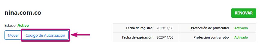solicita el código de autorización del dominio