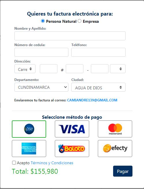 Datos para la factura del pago del dominio, correo corporativo y hosting