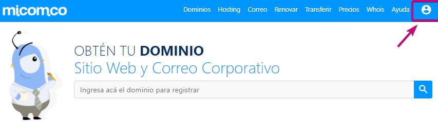 Crear cuenta donde administran servicio dominio, correo corporativo y hosting
