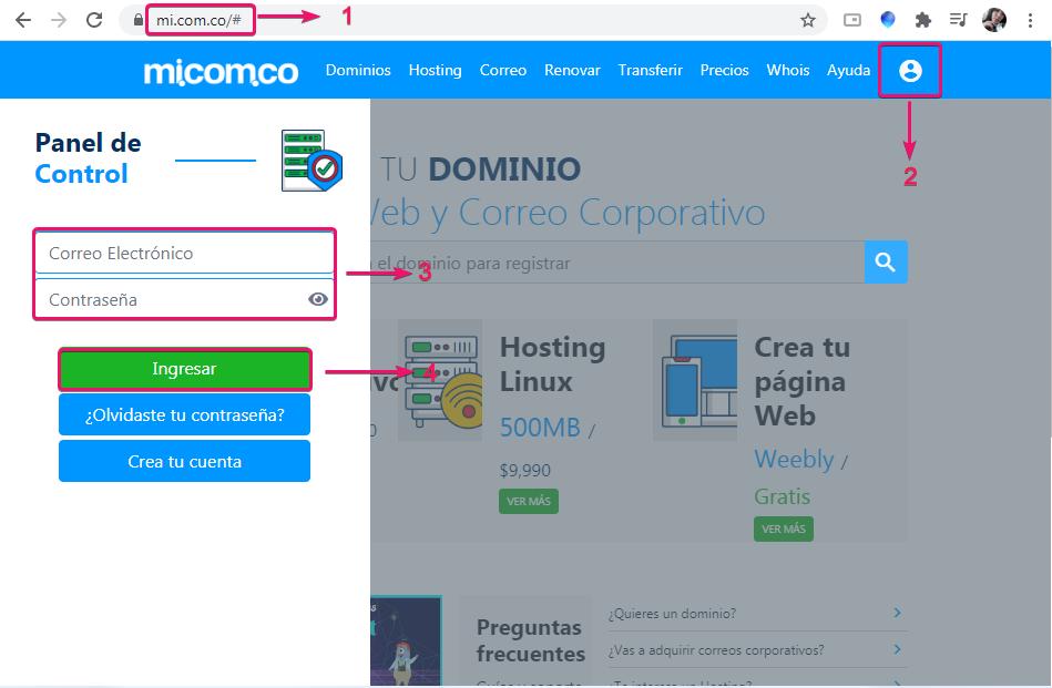 Ingresar a la cuenta donde se administran servicios de hosting, correo corporativo y hosting
