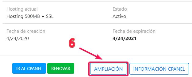 ampliar hosting