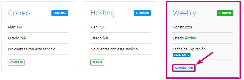 Administra la página web de tu dominio