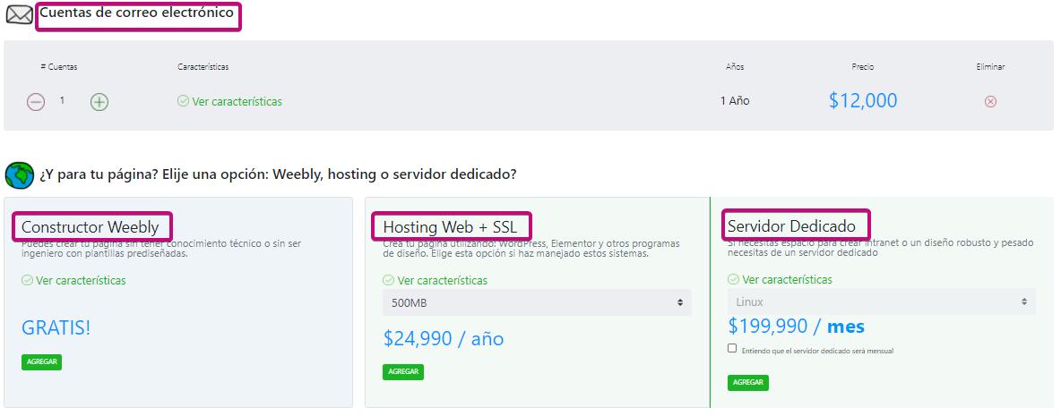 Compra dominio, correo corporativo y hosting