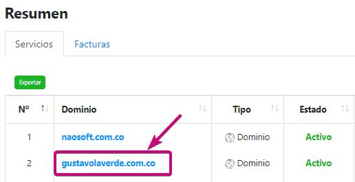 Selecciona el nombre del dominio al cual deseas adicionarle el servicio