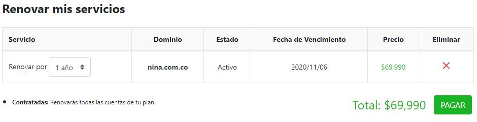 Resumen pago de dominio
