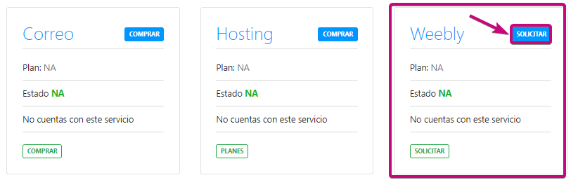 Puedes agregar weebly a tu dominio para crear tu página web
