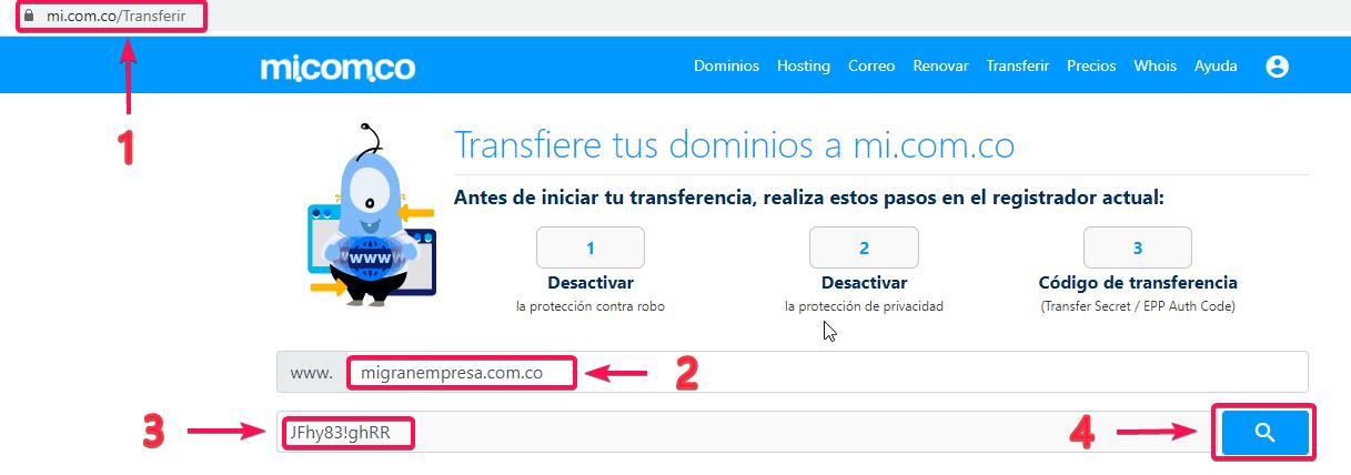 Transferir un dominio